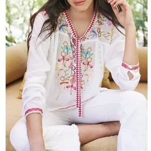JOHNNY WAS DRAGONFLY BLOUSE WHITE TOP